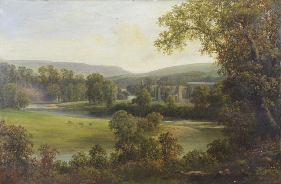 """Attributed to Thomas Girtin. """"Tintern Abbey"""" Oil"""