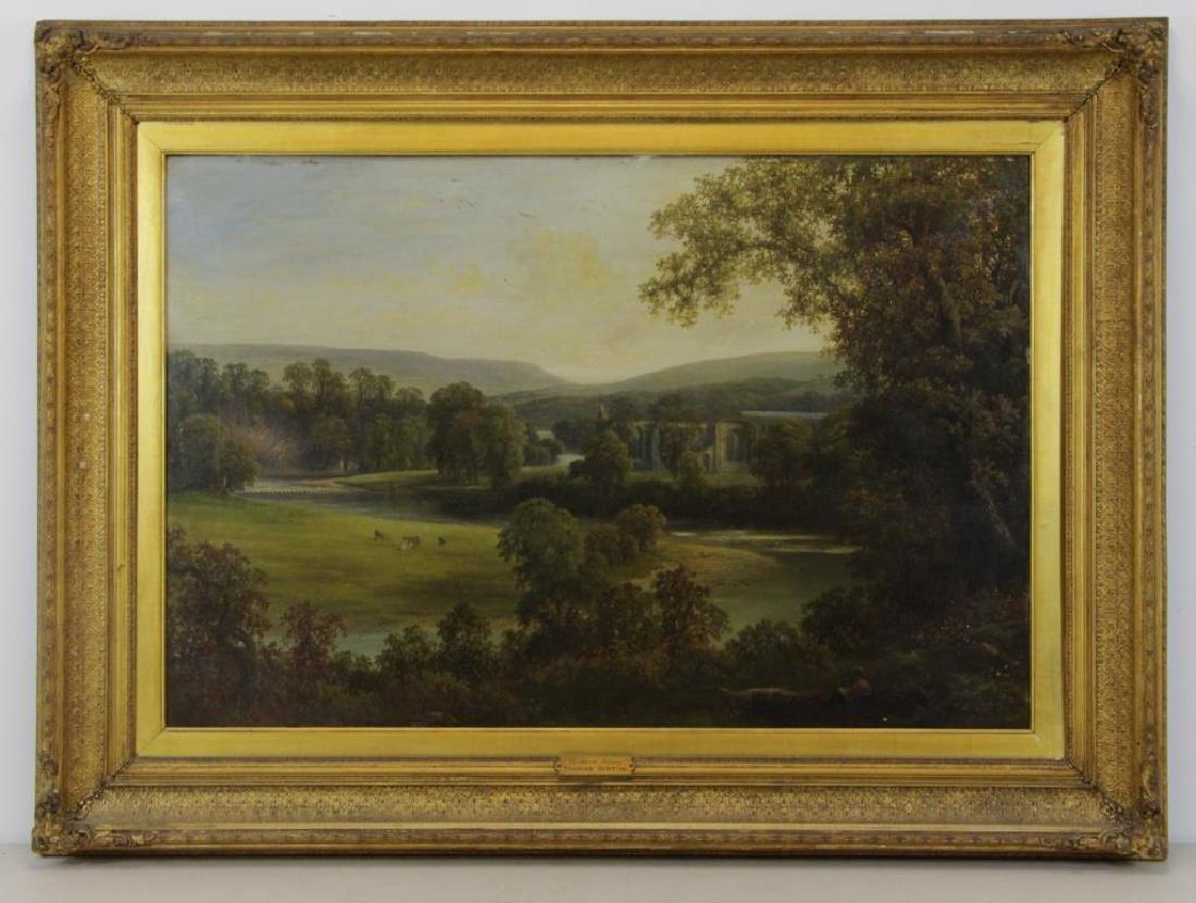 """Attributed to Thomas Girtin. """"Tintern Abbey"""" Oil - 2"""