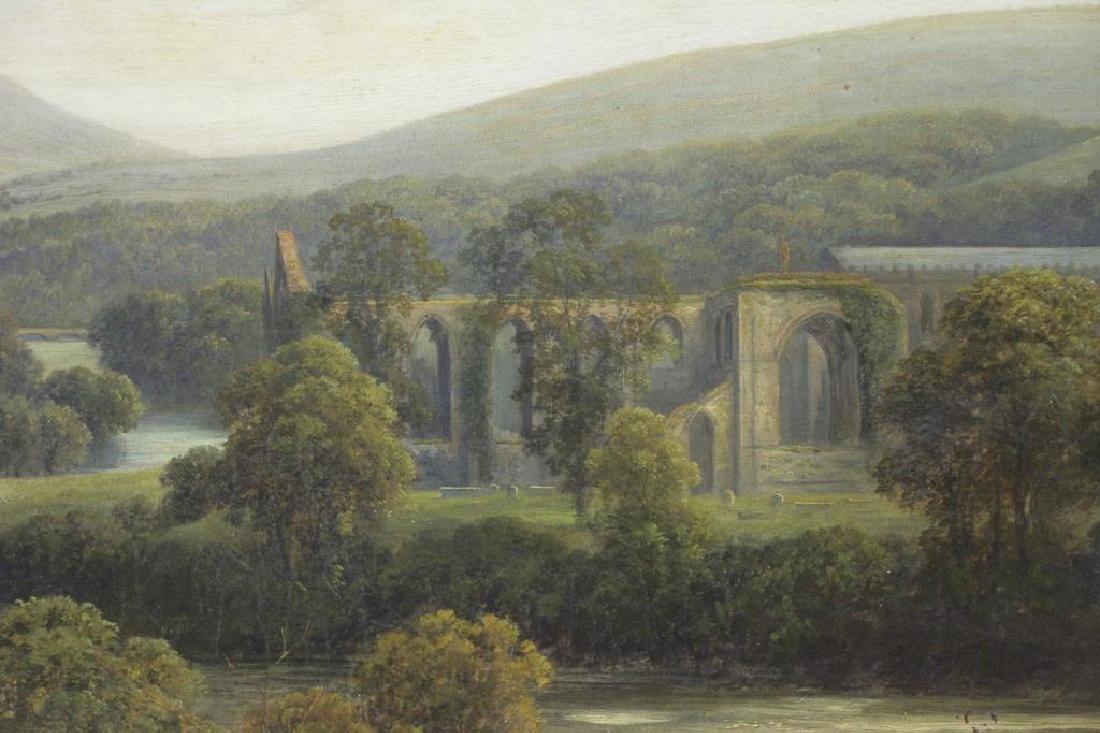 """Attributed to Thomas Girtin. """"Tintern Abbey"""" Oil - 4"""