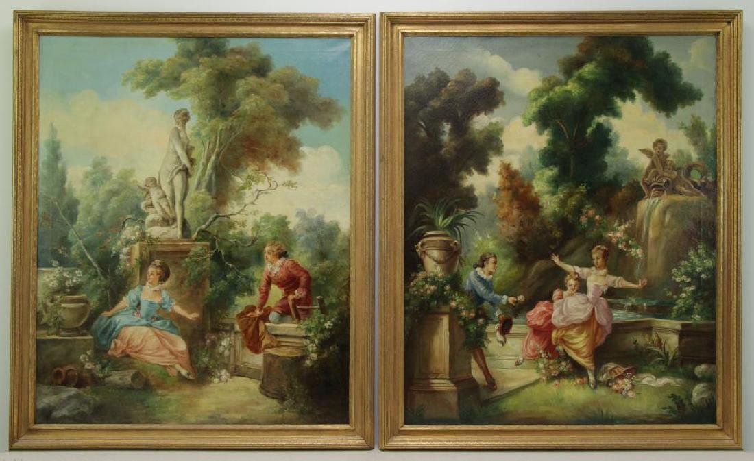 "After Fragonard. Pair of Oils on Canvas From ""The"