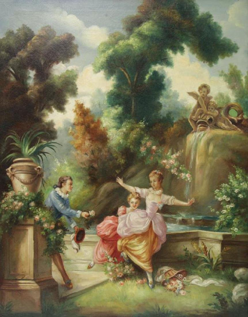 """After Fragonard. Pair of Oils on Canvas From """"The - 6"""