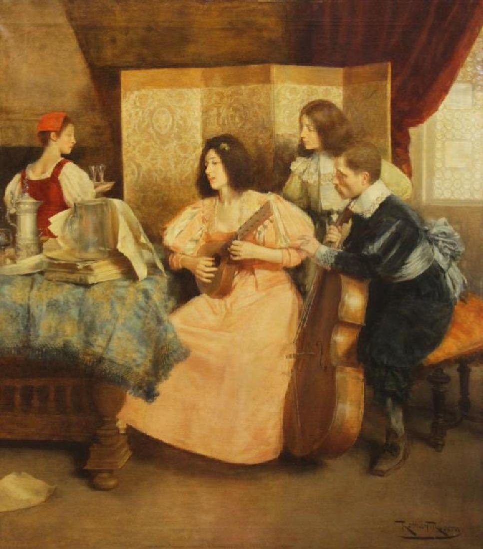 "RIBERA CIRERA, Roman. Oil on Canvas. ""The Music"