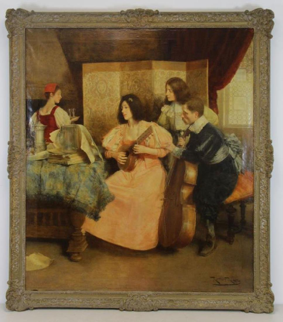 "RIBERA CIRERA, Roman. Oil on Canvas. ""The Music - 2"