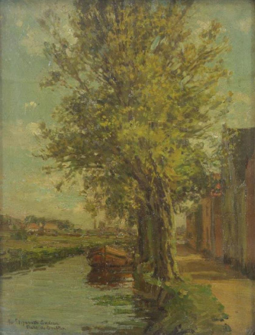 GRAFTON, Robert W. Oil on Canvasboard. Canal with