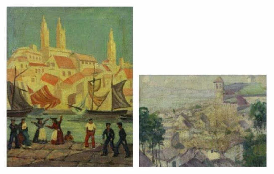 KALMENOFF, Matthew. Two Oils. European City Scenes