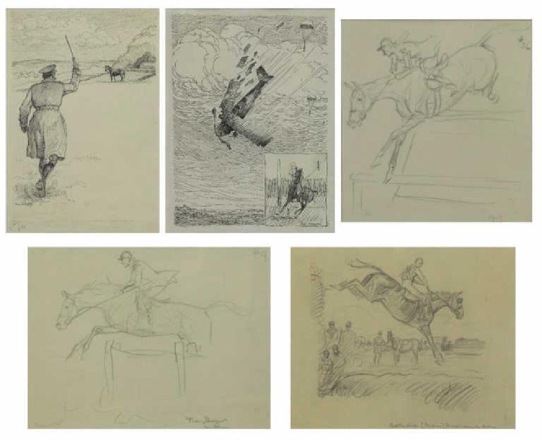BROWN, Paul. Five (5) Equestrian Illustrations.