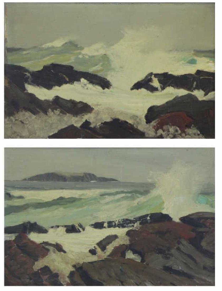CONNAWAY, Jay. Pair of Oil on Board Seascapes.