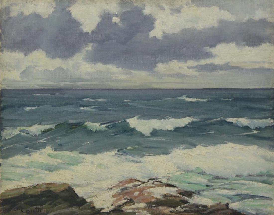 """CIMIOTTI, Gustave. Oil on Board. """"The Gray Blue"""