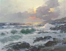 DZIGURSKI, Alex. Oil on Canvas. Sunset Seascape.
