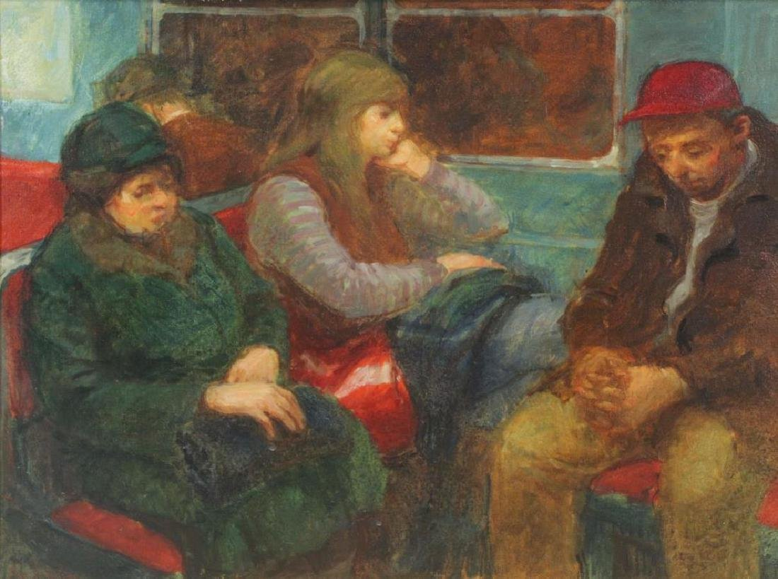 """GINSBERG, Max. Oil on Canvas. """"Subway Trip"""""""