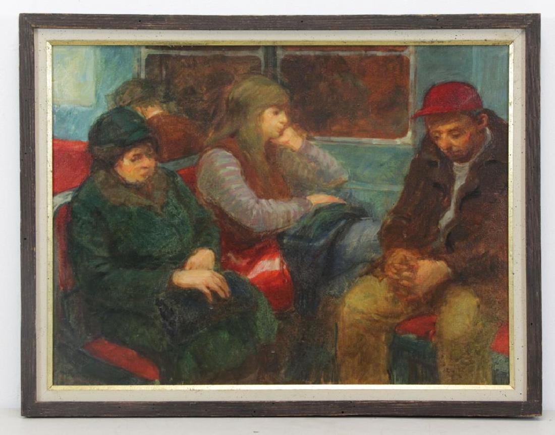 """GINSBERG, Max. Oil on Canvas. """"Subway Trip"""" - 2"""