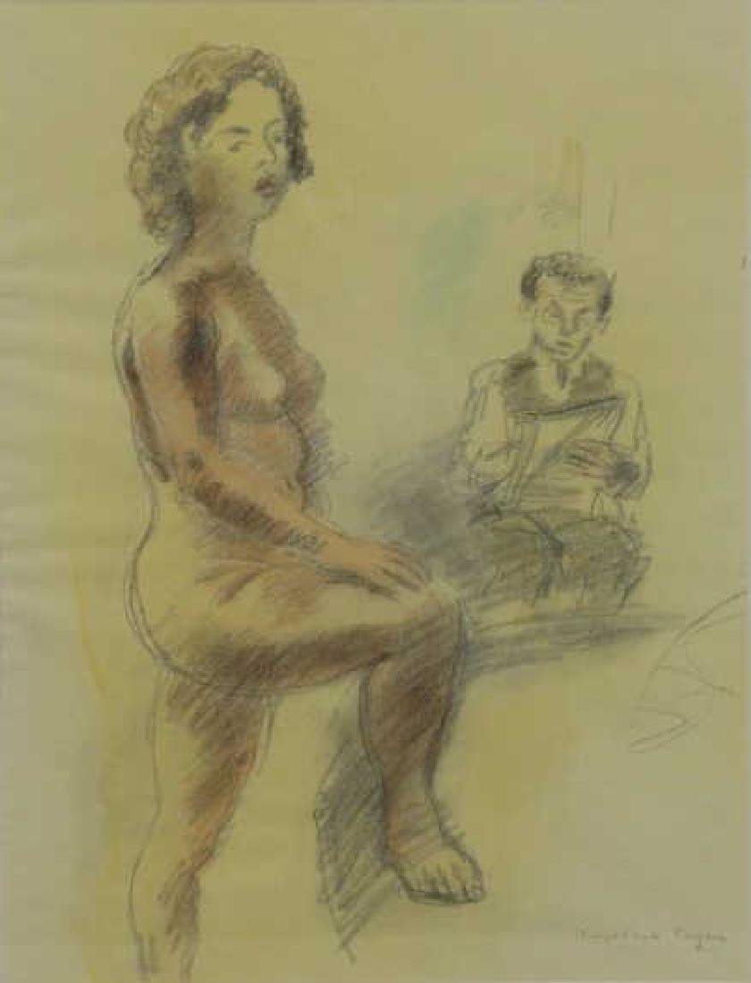 SOYER, Raphael. Artist and Model. Watercolor and