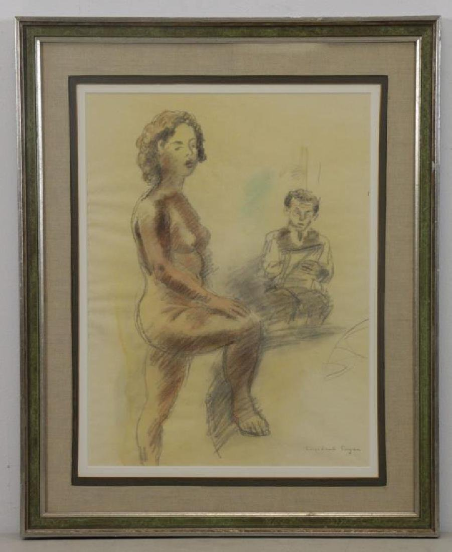 SOYER, Raphael. Artist and Model. Watercolor and - 2