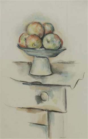WEBER, Max. Watercolor Still Life. Bowl of Apples.