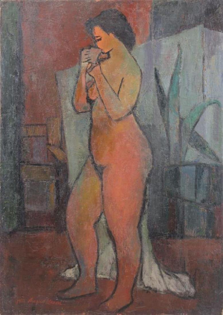 MOSCA, August. Oil on Canvas. Nude with Plant,1955