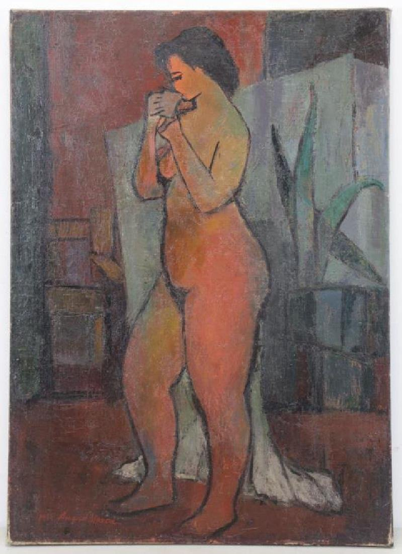 MOSCA, August. Oil on Canvas. Nude with Plant,1955 - 2