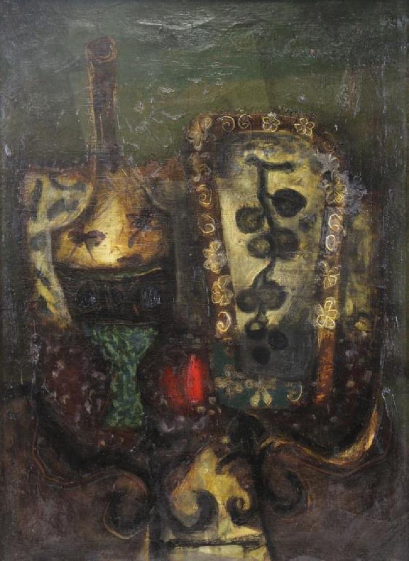 "COIGNARD, J. Oil on Canvas ""Bouteille et Raisins""."