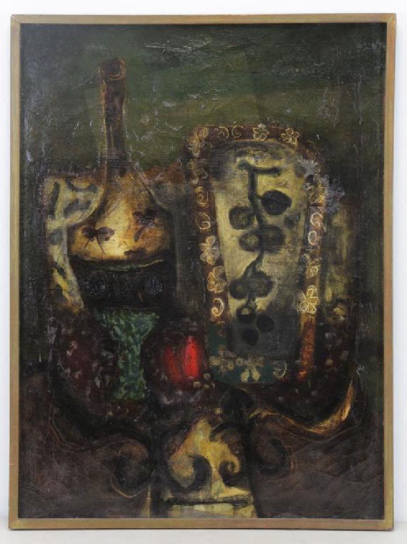 "COIGNARD, J. Oil on Canvas ""Bouteille et Raisins"". - 2"