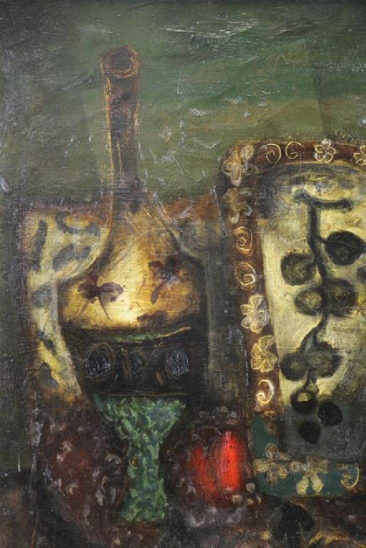 "COIGNARD, J. Oil on Canvas ""Bouteille et Raisins"". - 3"