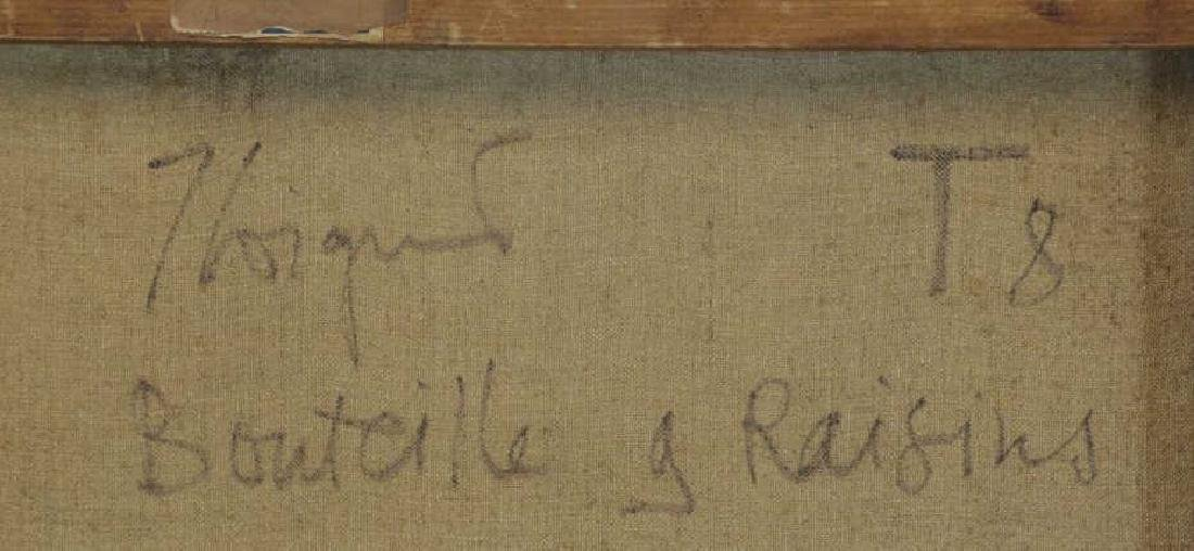 "COIGNARD, J. Oil on Canvas ""Bouteille et Raisins"". - 7"