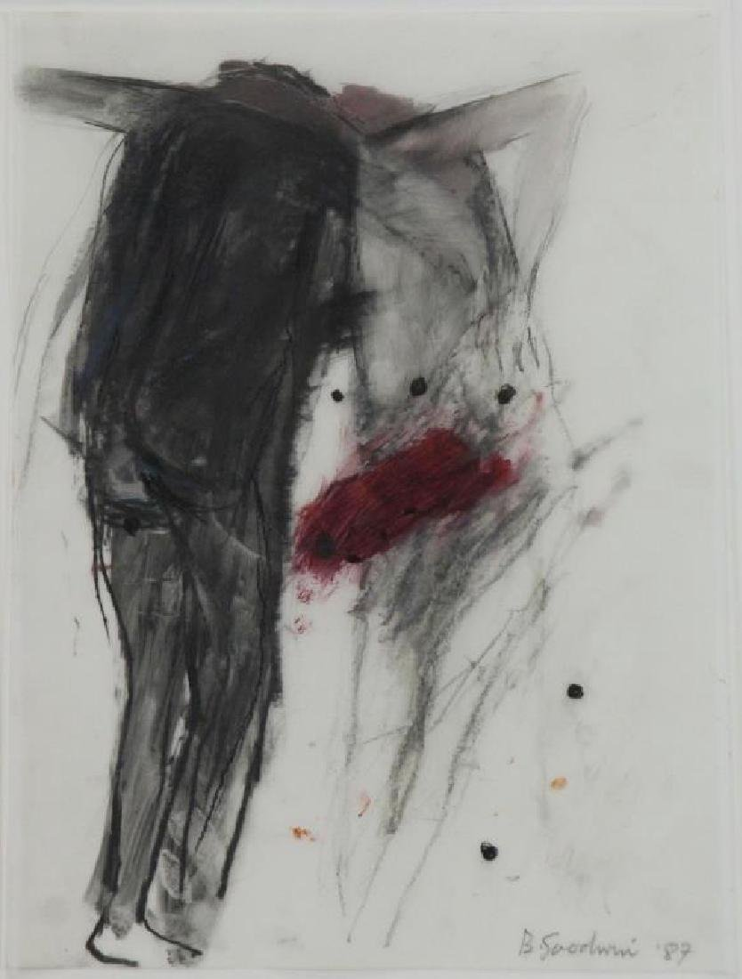 GOODWIN, Betty. Untitled (Two Figures with Red