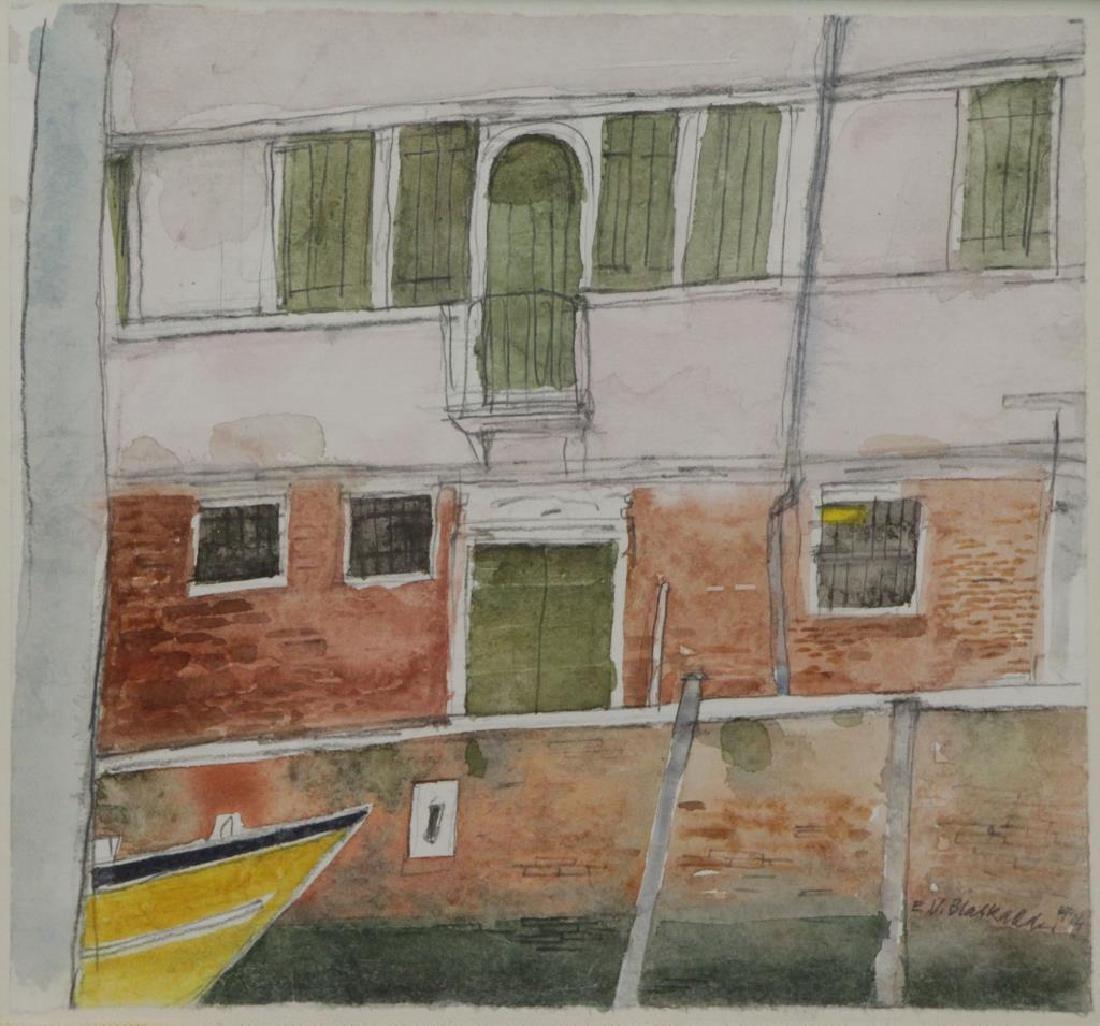 "BLACKADDER, Elizabeth V. Watercolor ""Canal,"