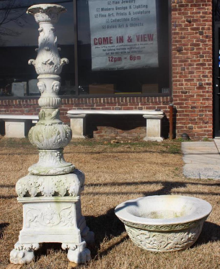 Antique Marble Pedestal Planter As Found .