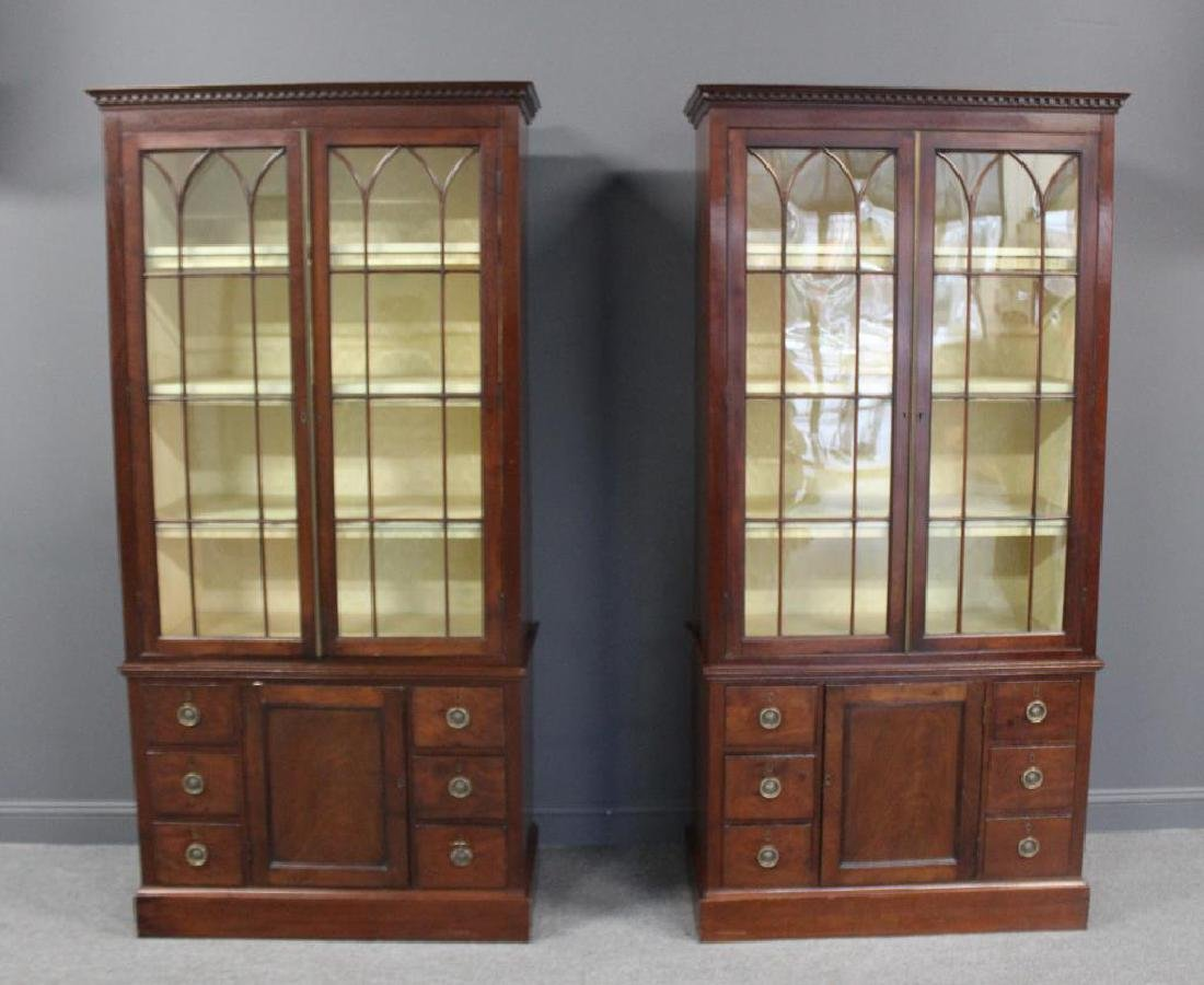 A Fine Pair of Antique Mahogany China Cabinets.