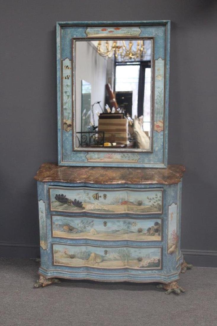 Vintage Hand Painted Serpentine Front