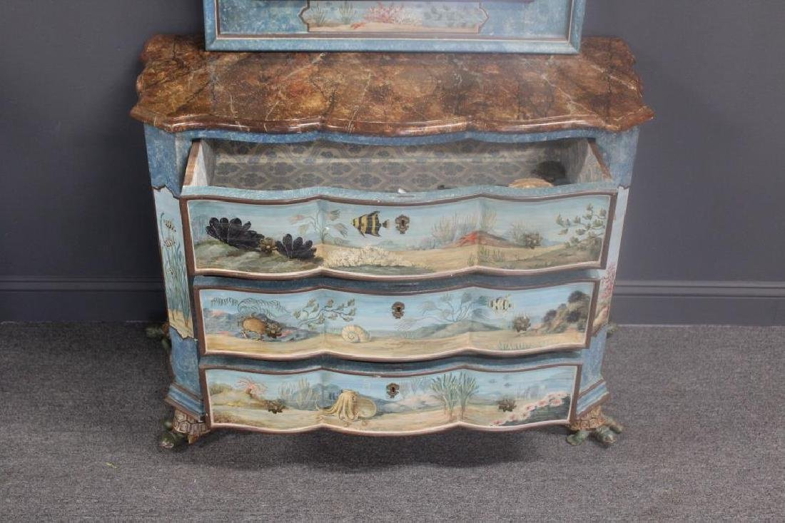 Vintage Hand Painted Serpentine Front - 2