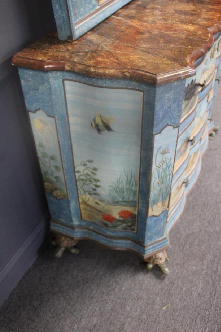 Vintage Hand Painted Serpentine Front - 4