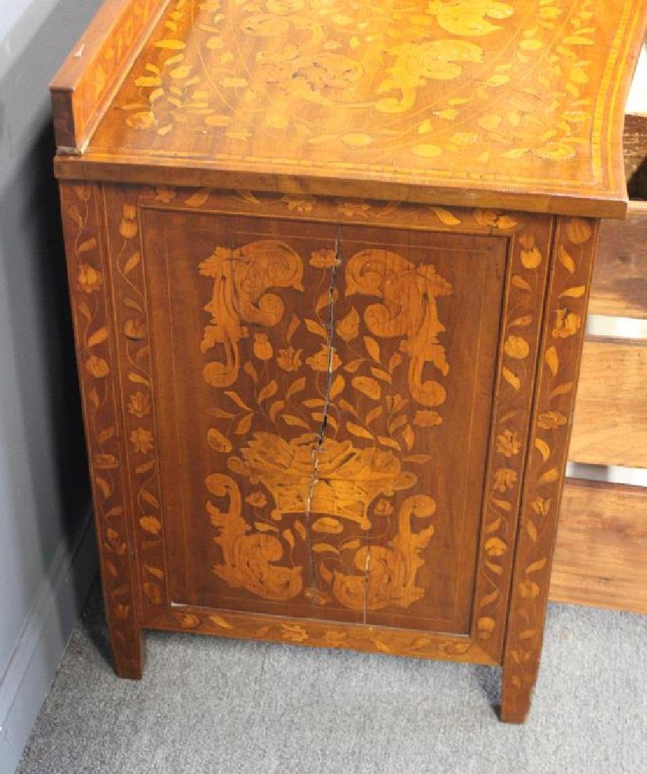 Antique Parquetry Inlaid Commode With Back Splash. - 4