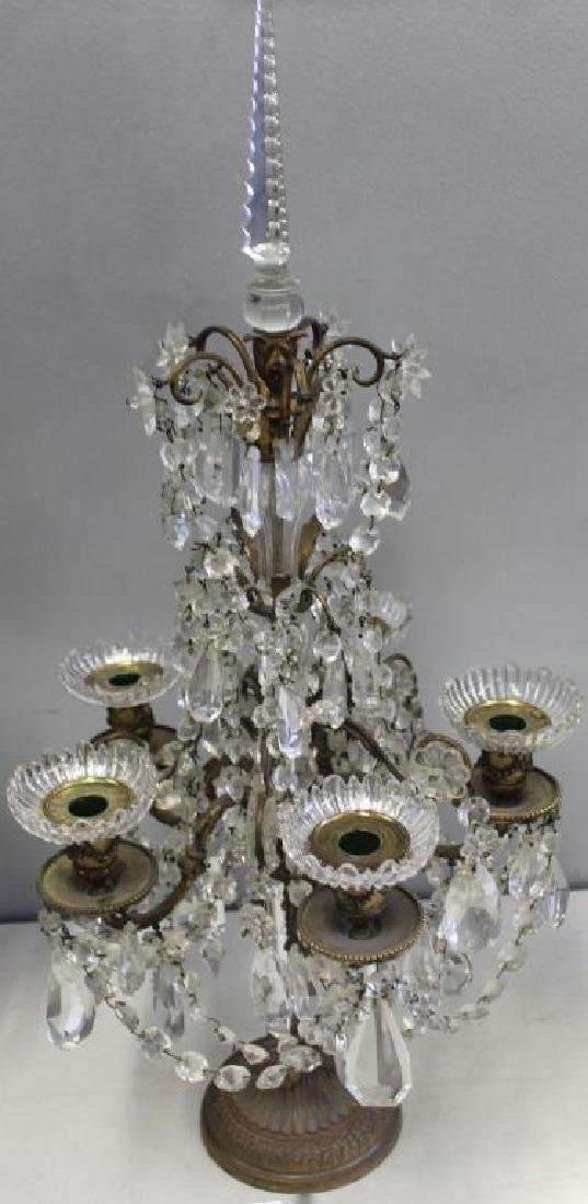 Pair of Fine Quality Antique Bronze and Crystal - 2