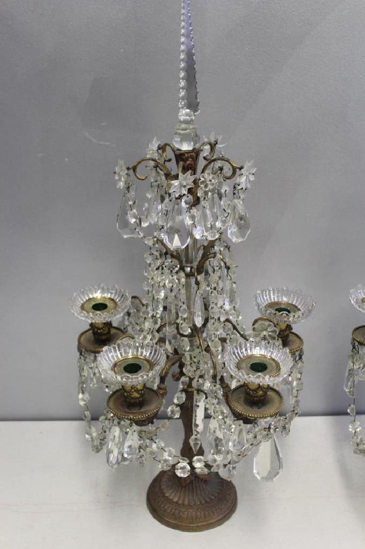 Pair of Fine Quality Antique Bronze and Crystal - 3