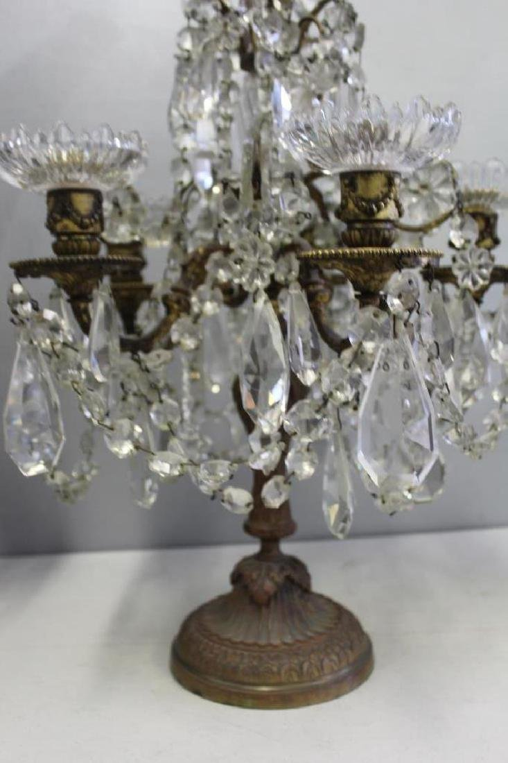 Pair of Fine Quality Antique Bronze and Crystal - 4