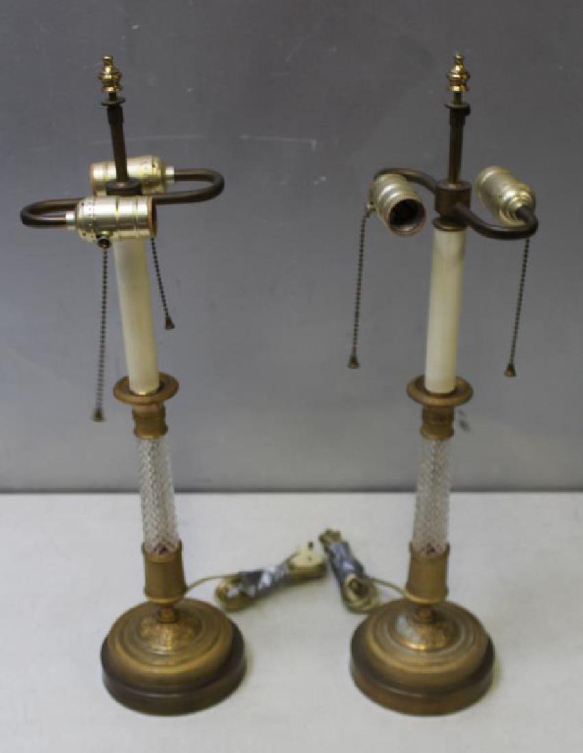 An Antique Pair of Gilt Bronze and Cut Glass
