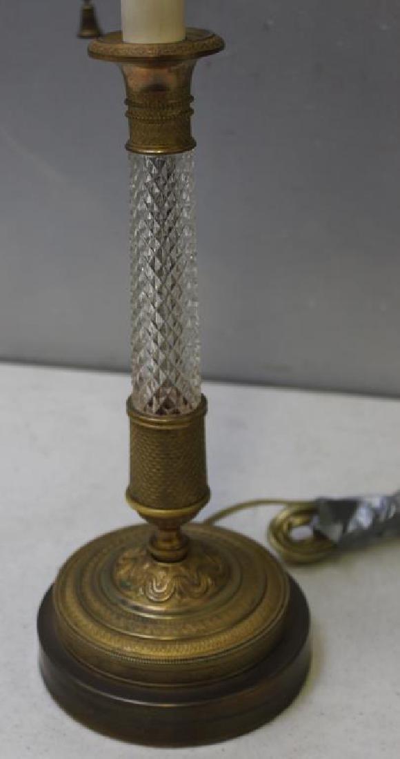 An Antique Pair of Gilt Bronze and Cut Glass - 2