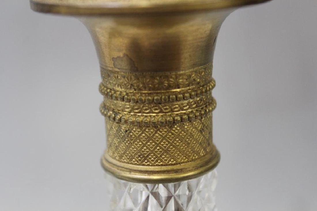 An Antique Pair of Gilt Bronze and Cut Glass - 3
