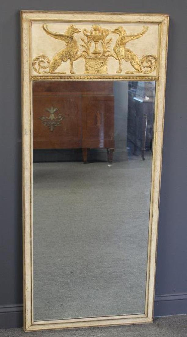 Carved and Gilt Classical Style Trumeau Mirror.
