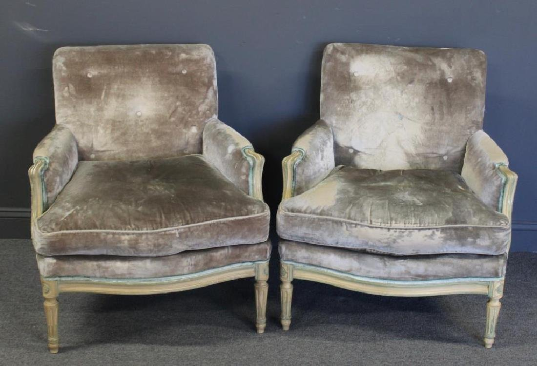 Pair of Down Filled Louis XVI Style Arm Chairs.