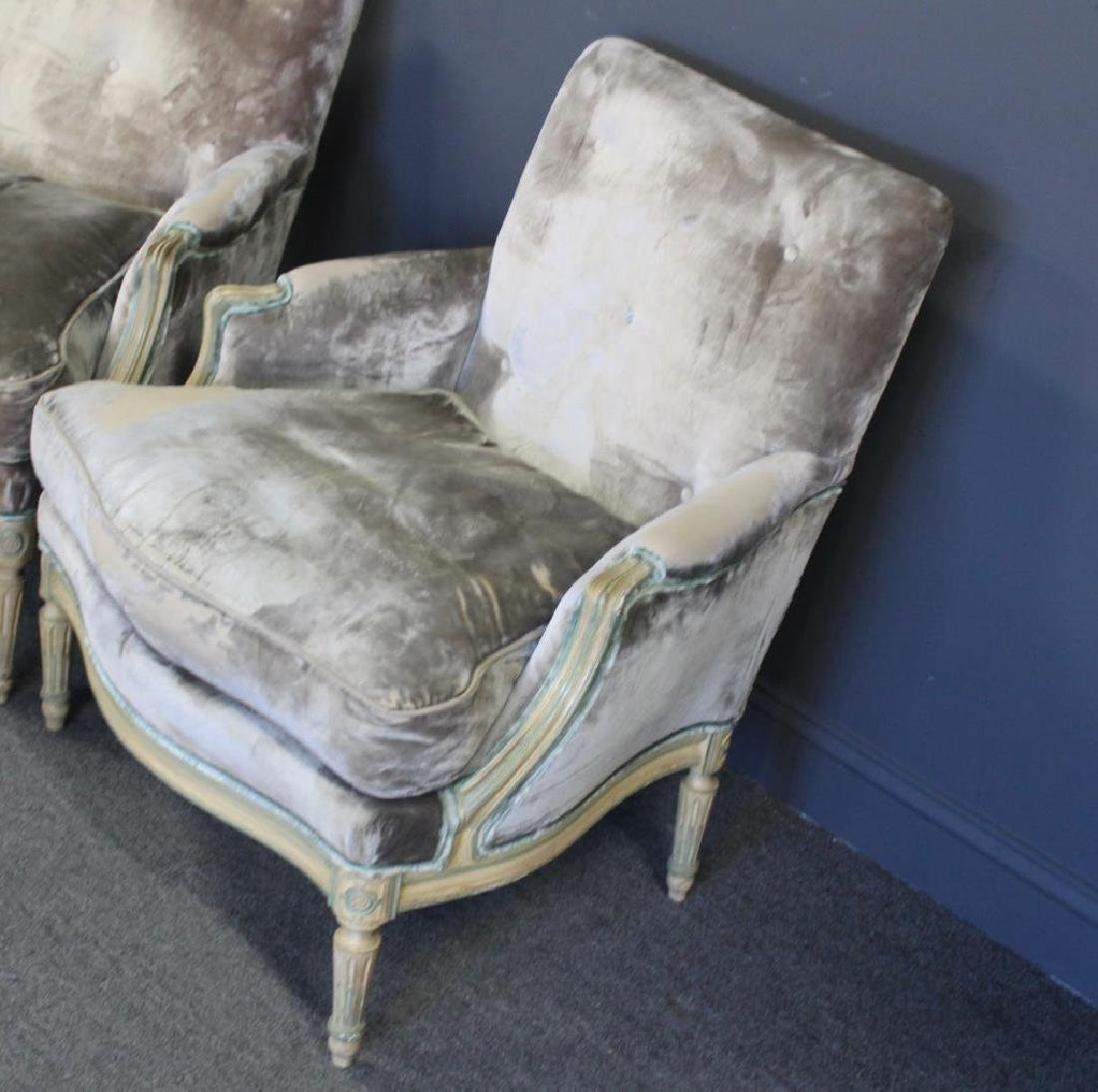 Pair of Down Filled Louis XVI Style Arm Chairs. - 2