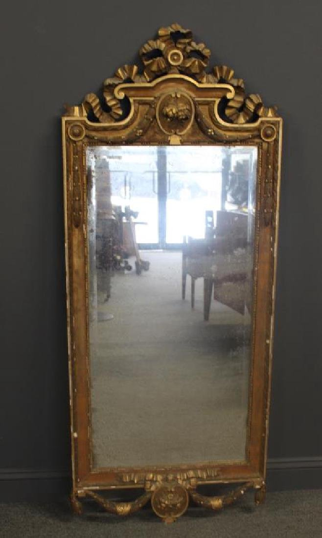 Antique Carved and Gilt Wood Gustavian Mirror
