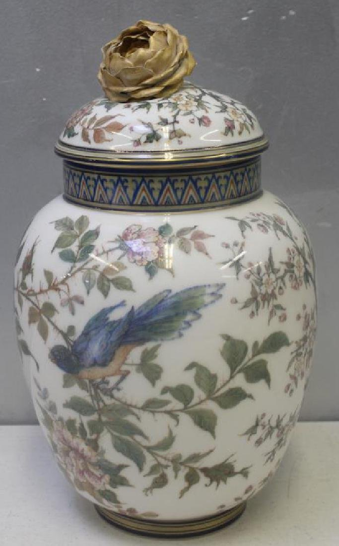 Keller et Guerin Covered Porcelain Urn.