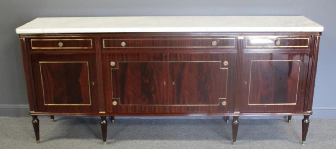 Louis XV1 Style Mahogany Marbletop Server .