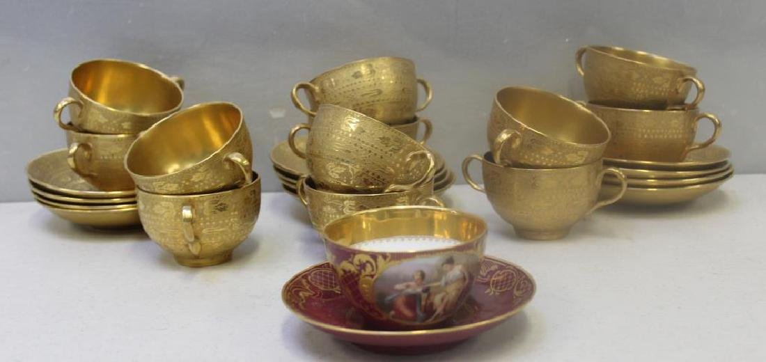 Crown Staffordshire Gilt Porcelain Cups and