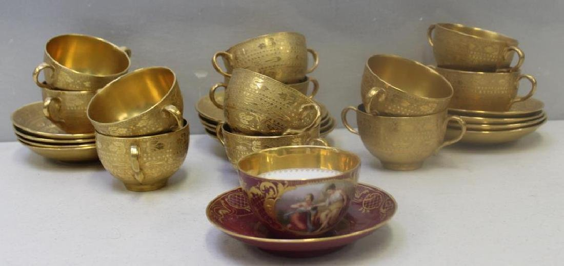 Crown Staffordshire Gilt Porcelain Cups and - 2