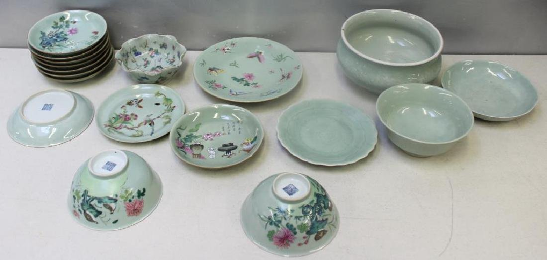 Grouping Of Enamel Decorated and Plain Celadon