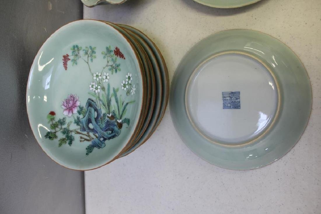 Grouping Of Enamel Decorated and Plain Celadon - 2
