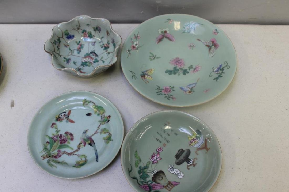 Grouping Of Enamel Decorated and Plain Celadon - 3