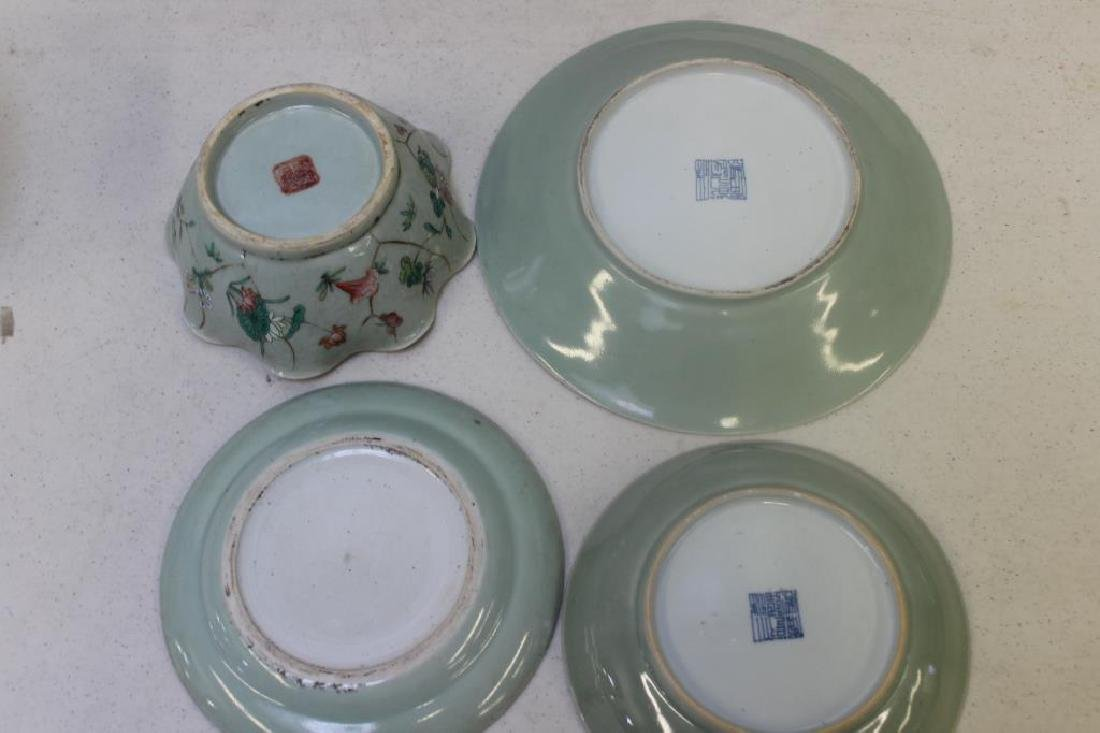 Grouping Of Enamel Decorated and Plain Celadon - 4